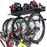 StoreYourBoard Bike Rack + Storage Shelf, Holds 5 Bicycles, Garage Adjustable Bike Wall Mount
