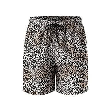 53cb01ced0886 Image Unavailable. Image not available for. Color: FullBo Leopard Cheetah  Print Brown Light Yellow Men's Swim Trunks Quick Dry Beach Shorts