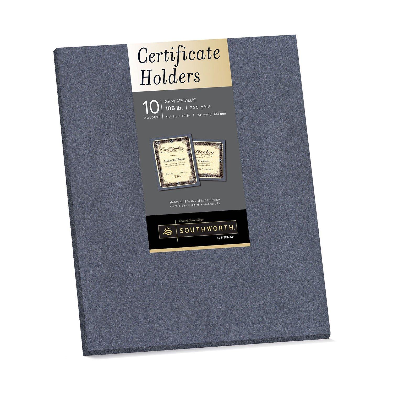 "Southworth Certificate Holders, 9.5"" x 12"", 105 lb/285 gsm, Gray Metallic, Cardstock, 10 Ct. (98869)"