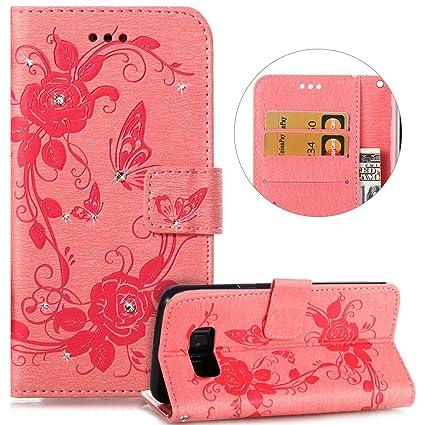 PHEZEN Galaxy S8 Plus Case,Galaxy S8 Plus Wallet Case, Bling Crystal  Rhinestone Diamond Embossed Flower Butterfly PU Leather Flip Stand Wallet  Case