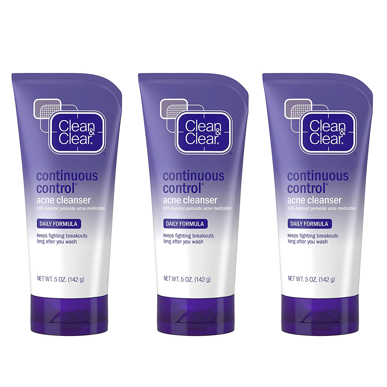 Clean & Clear Continuous Control Benzoyl Peroxide Acne Face Wash, Daily Facial Cleanser with Acne Medicine to Treat and Prevent Acne, For Acne-Prone Skin, 5 oz Pack of 3