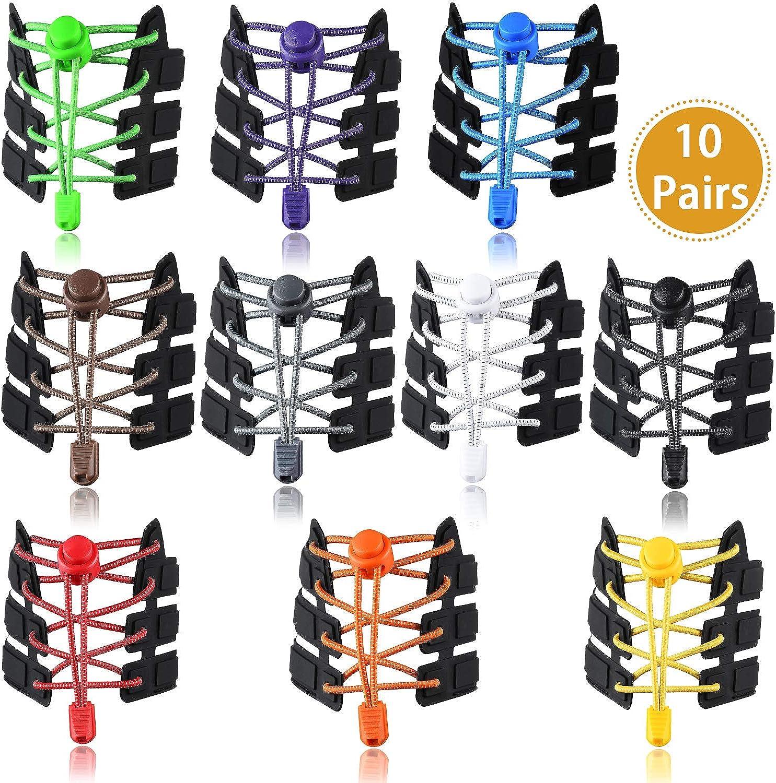 UPINS 10 Pairs Elastic Shoe Laces No Tie Adjustable Tieless Rubber Shoelaces