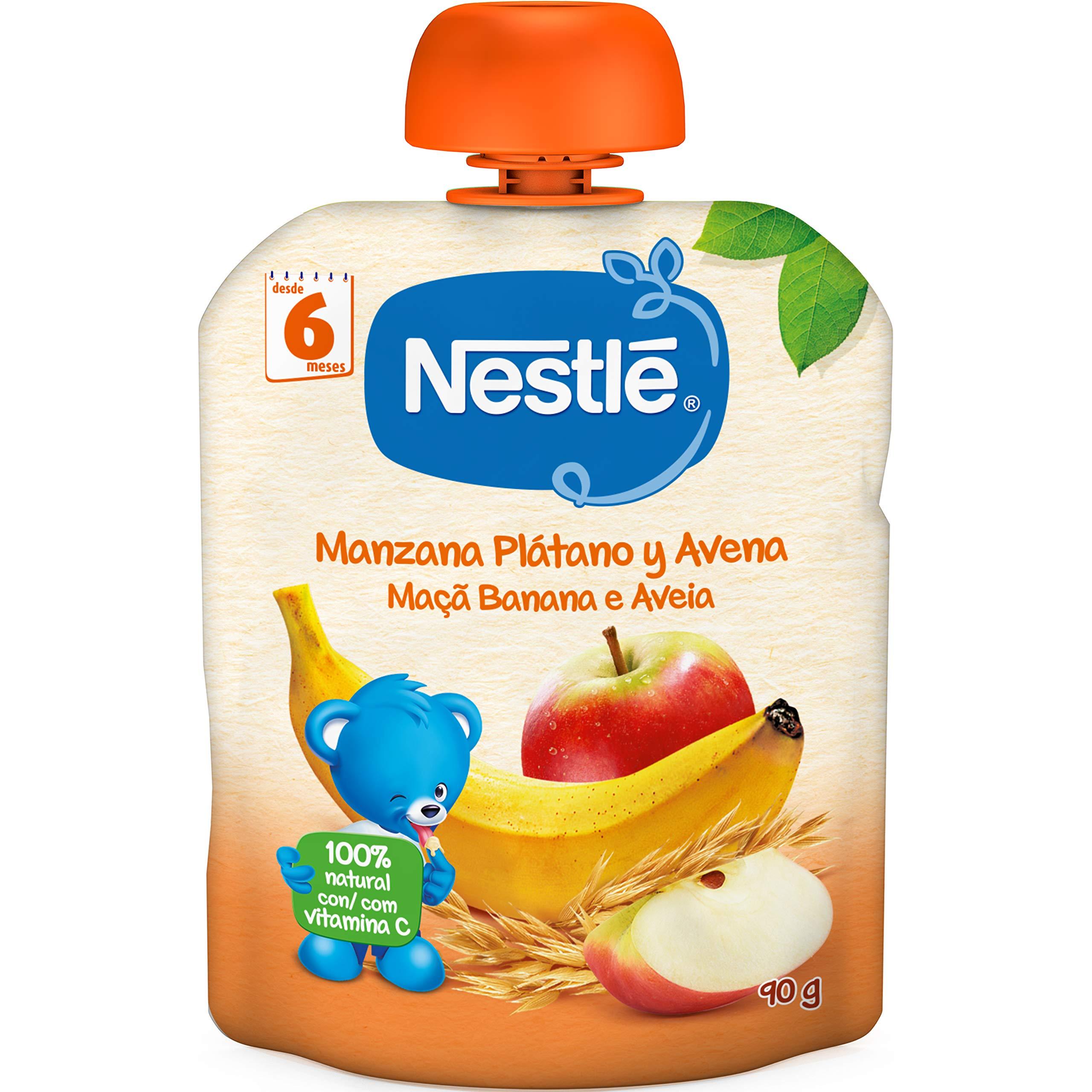 Nestlé Bolsita de puré de frutas y cereales, variedad Manzana Plátano y Avena - Para bebés a partir de 6 meses - Paquete de 16 bolsitasx90g