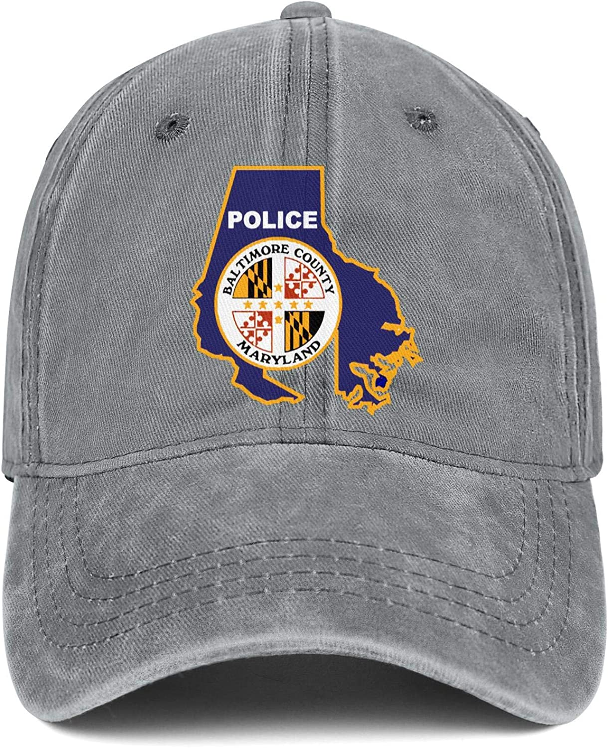 SNEFUEE Man Womens Maryland Baltimore County Police Cap Printed Denim Cowboy Hat Running Caps