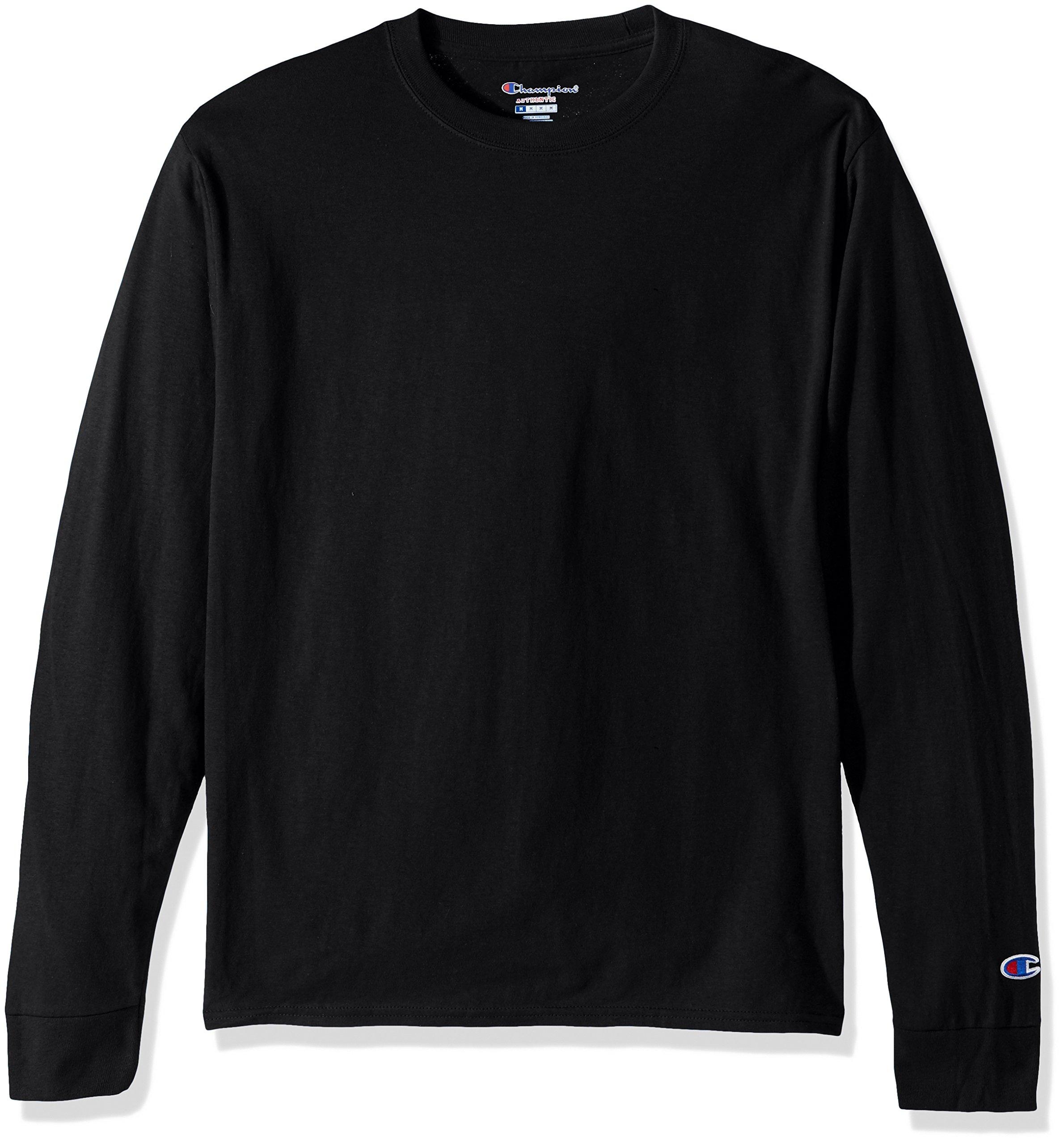 Champion LIFE Men's Cotton Long Sleeve Tee, Black Large