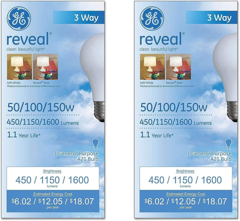 GE Lighting 97785 Reveal 3-Way Light Bulb, 2 Pack