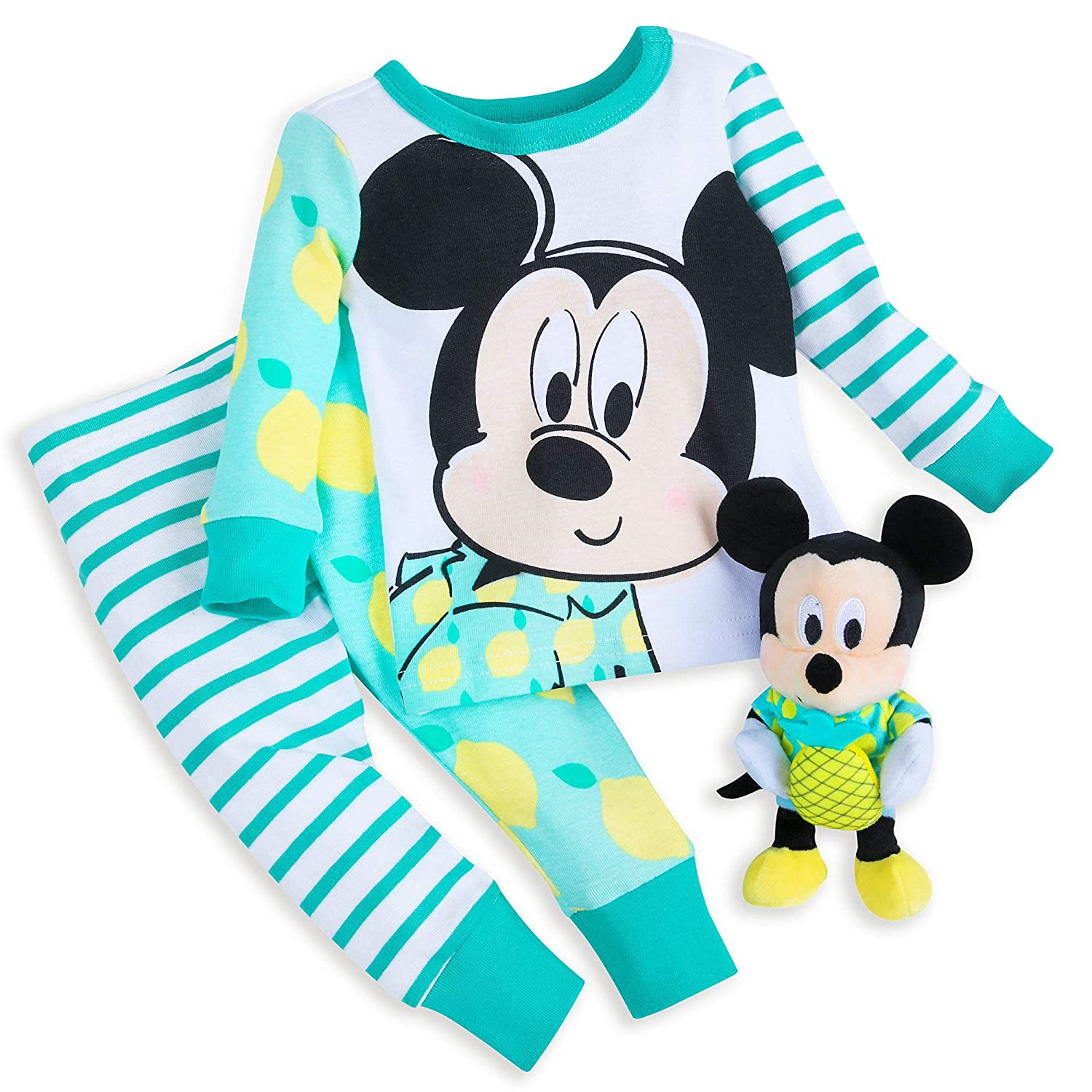Disney Mickey Mouse PJ PALS and Plush Rattle Set for Baby Size 12-18 MO Multi