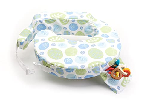 My Brest Friend Original Nursing Posture Pillow, Green & Blue Leaf