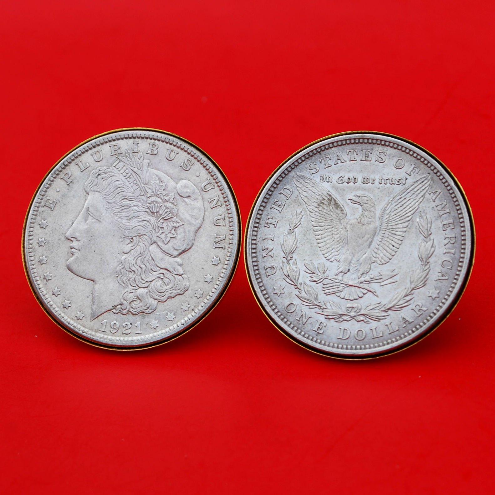 US 1921 Morgan Silver Dollar Gold Cufflinks NEW - OBVERSE + REVERSE