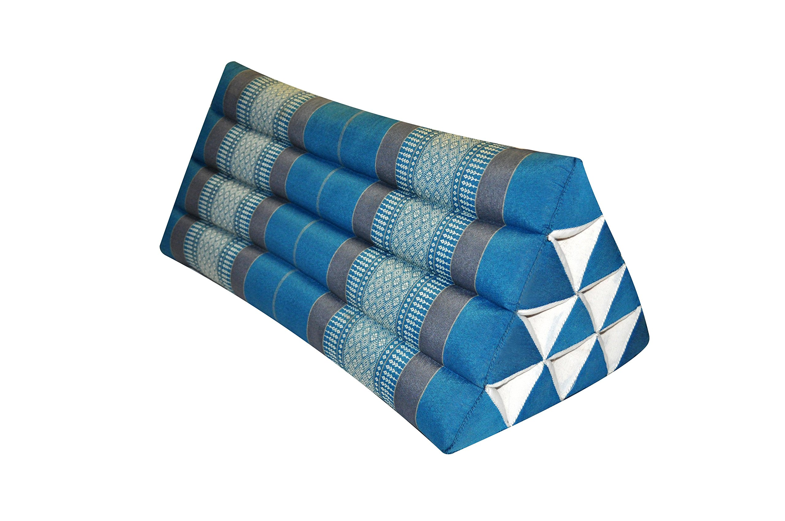 Thai triangular cushion XXL, blue/grey, relaxation, beach, kapok, made in Thailand. (82615)
