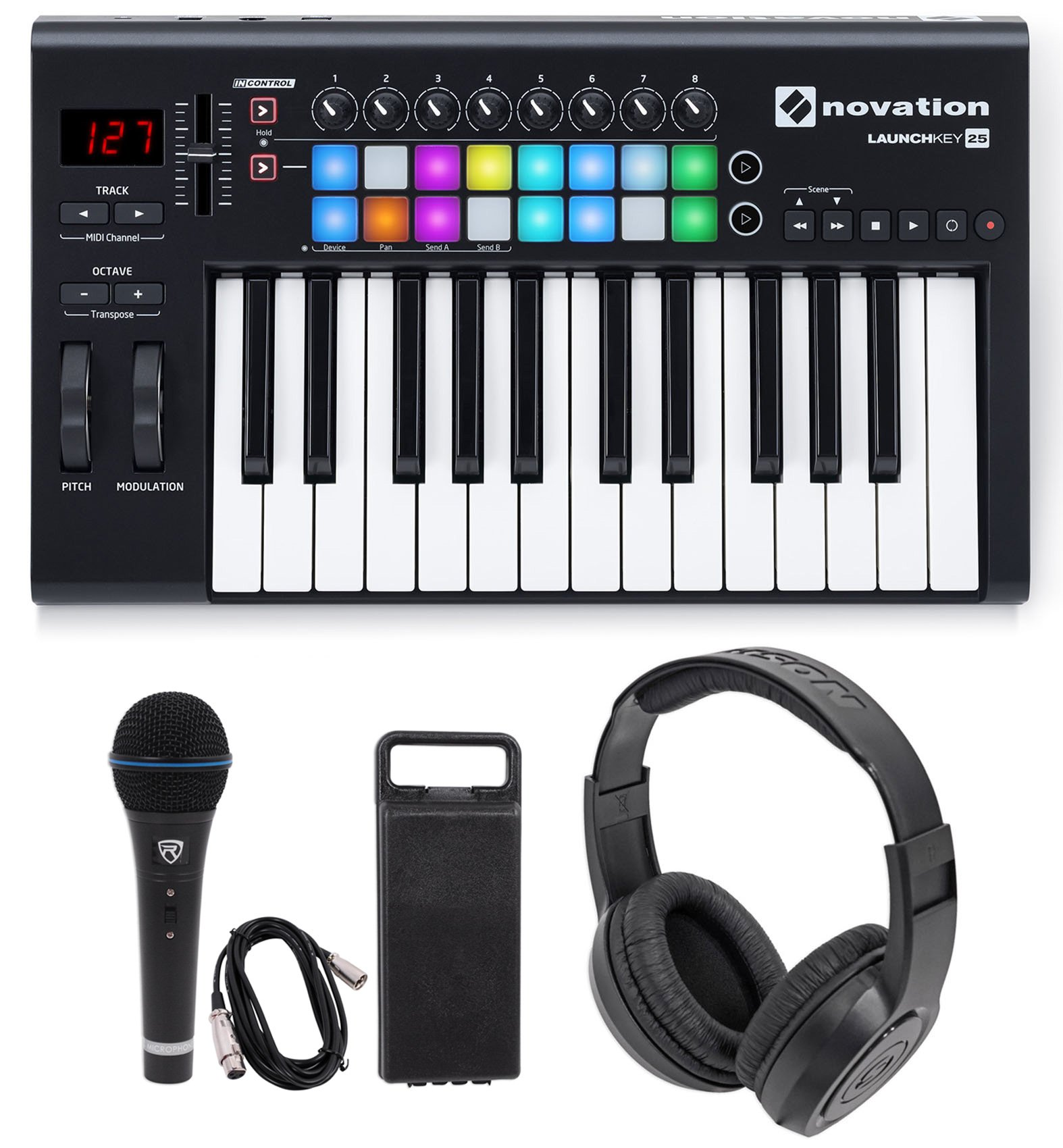 Novation LAUNCHKEY-25-MK2 25-Key USB MIDI Keyboard Controller+Headphones+Mic by Novation