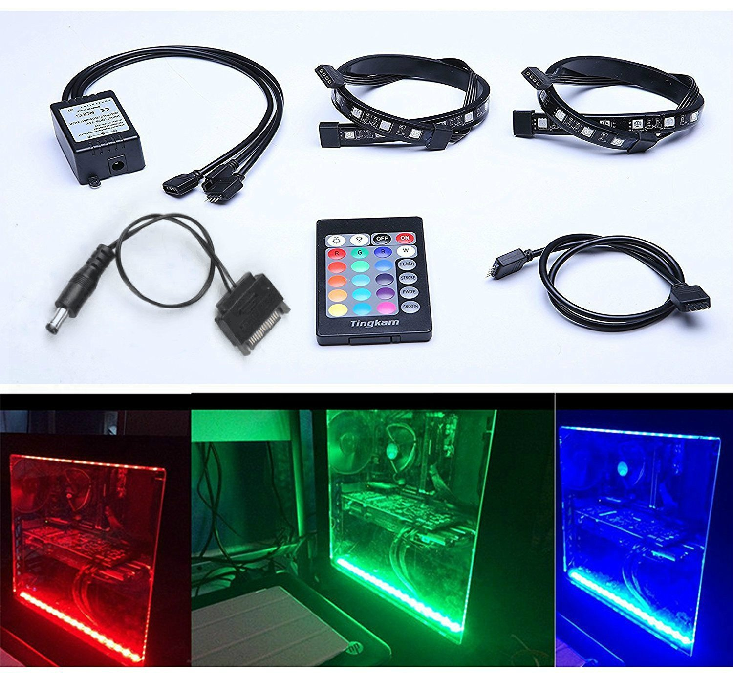 Tingkam Full Kit RGB 5050 SMD 2pcs 18leds 30cm LED Strip Light Attached to Your PC Case via Magnet with 24 key Remote Controller for Desktop Computer Mid Tower Case (The 2nd Generation) by Tingkam (Image #1)