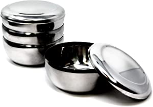 Eutuxia Korean Stainless Steel Rice Bowl + Lid, Set of 4. Traditional, Hygienic, Round & Unbreakable. Keep Rice or Soup Warm w/Metal Bowl. Made in Korea. 스텐밥공기