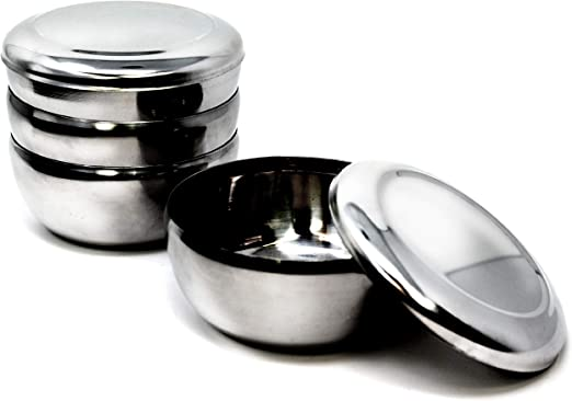 Stainless Steel Metal Rice Lid Bowl Serving Dish Restaurant Simple Tableware New