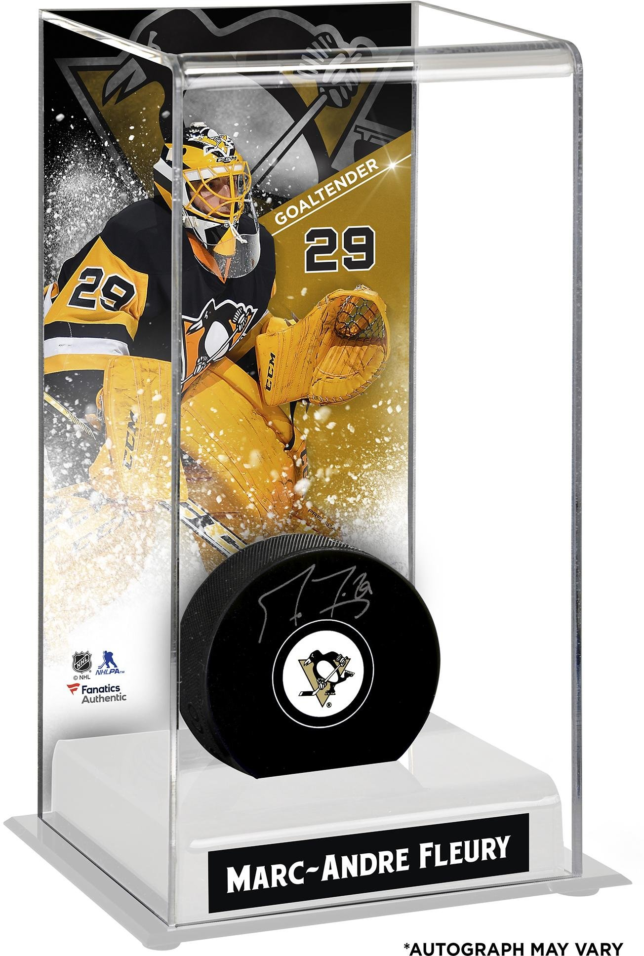 Marc Andre Fleury Pittsburgh Penguins Autographed Puck with Deluxe Tall Hockey Puck Case Fanatics Authentic Certified