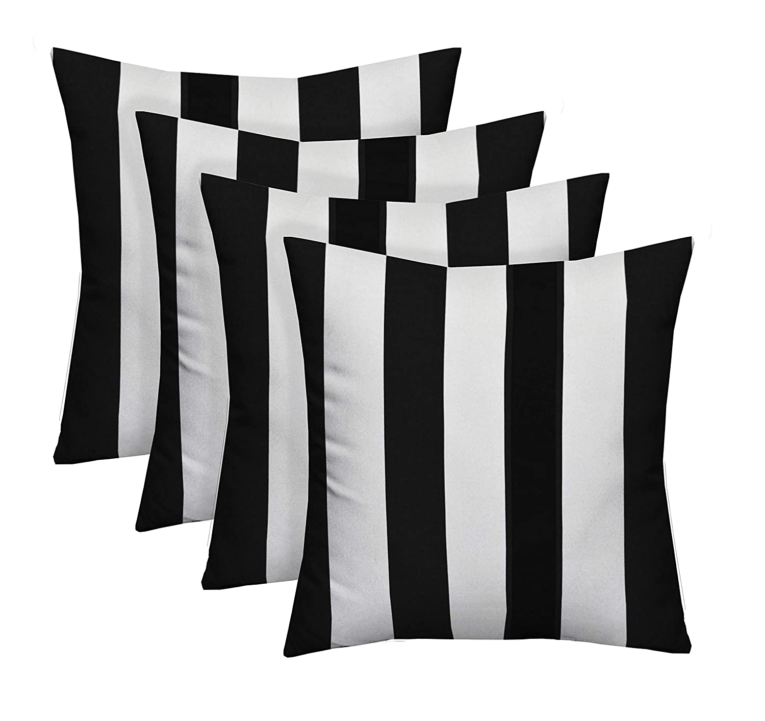"Resort Spa Home Decor Set of 4 Indoor/Outdoor Square Decorative Throw/Toss Pillows Black and White Stripe Fabric Choose Size (17"" x 17"")"