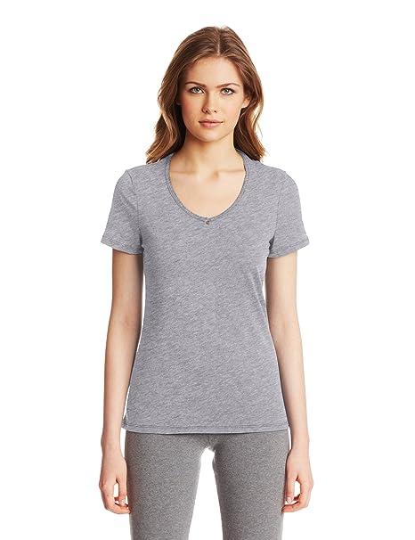 Nautica Sleepwear Womens Knit Jersey V-Neck Tee, Ash Heather, X-Large