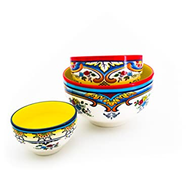 Euro Ceramica Zanzibar Collection Vibrant Ceramic Mixing Bowls, 3 Piece Set, Spanish Floral Design, Assorted Sizes, Multicolor