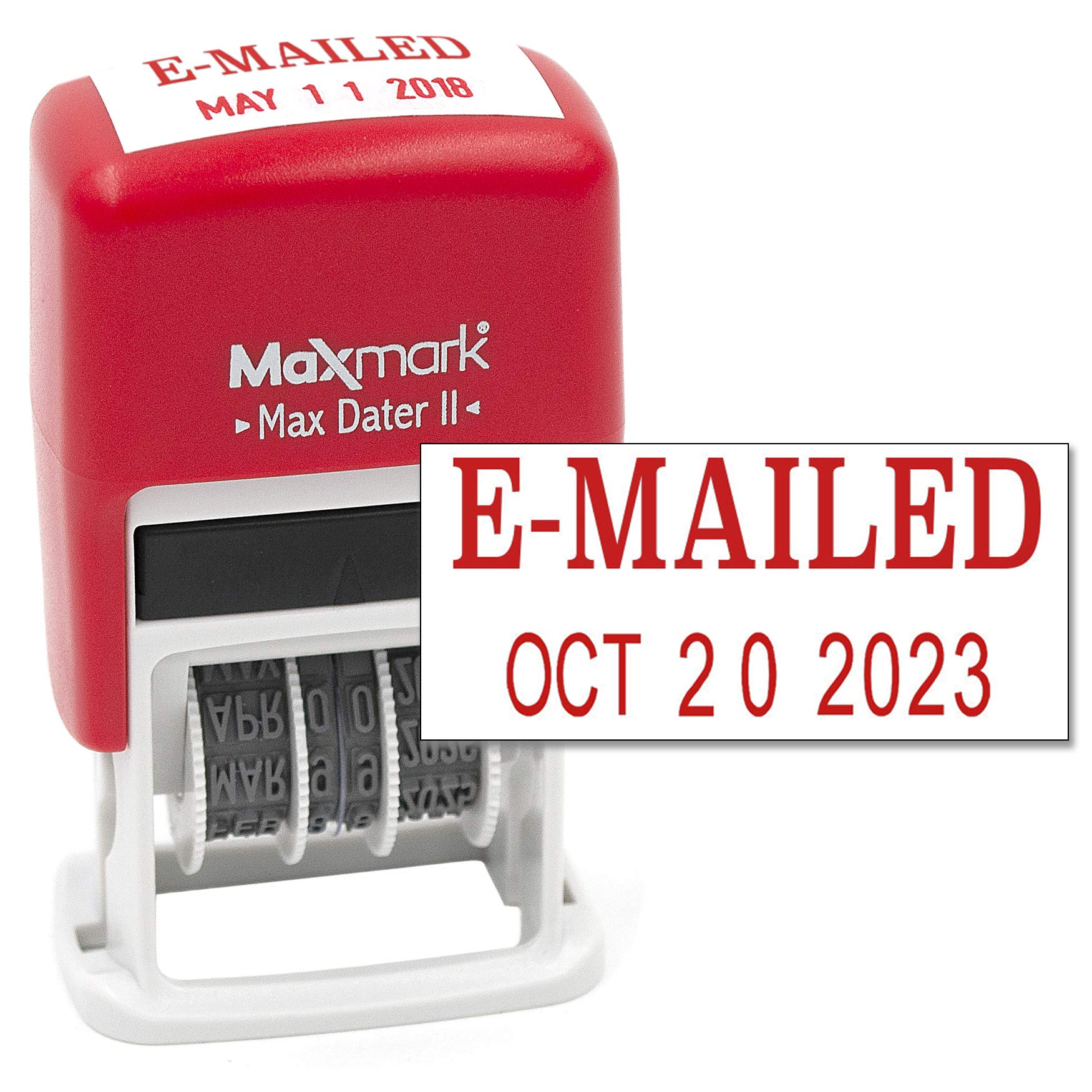 MaxMark Self-Inking Rubber Date Office Stamp with E-MAILED Phrase & Date - RED INK (Max Dater II), 12-Year Band