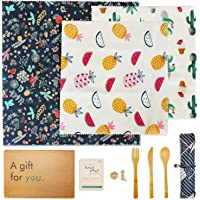 Beeswax Food Wraps (3PCS) - No Synthetic Wax or Chemicals – Wax Wrap for Up to a Year – Sustainable and Beeswax Reusable…