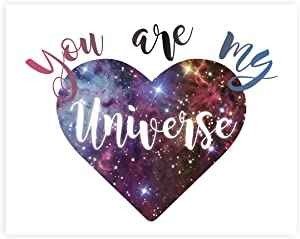 You Are My Universe 11x14 inches, Galaxy Decor, Quotes, Wall Quotes Nursery Quotes, Galaxy Wall Décor, Family Décor, Living Room Décor, Nursery Wall, Wedding Gift, Newlyweds Gift, Anniversay Gift
