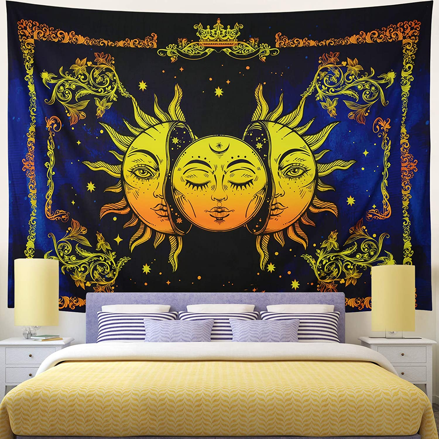 Rajahubri Sun and Moon Tapestry Psychedelic Celestial Wall Tapestry Burning Sun with Star Tapestry Mystic Fractal Faces Tapestry Wall Hanging for Room(H59.1×W78.7)