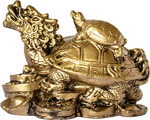 """7/"""" China fengshui Brass Longevity Wealth Dragon Turtle Tortoise On Coin Statue"""