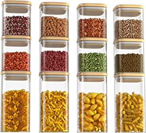 Huolewa Set of 12 Glass Canisters, Square Glass Jars with Airtight Bamboo Lid, Clear Food Storage Jars for Kitchen and Pantry, Ideal for Coffee, Tea, Cookie, Candy, Nut, Spice, Grains