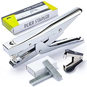 Plier Stapler Office Set - with Staple Remover Tool and a Box of 1.000 Standard Staples (24/6-26/6 Size) - Also Good for Stapling at Home School or Warehouse - One e-Book All by bbPeak