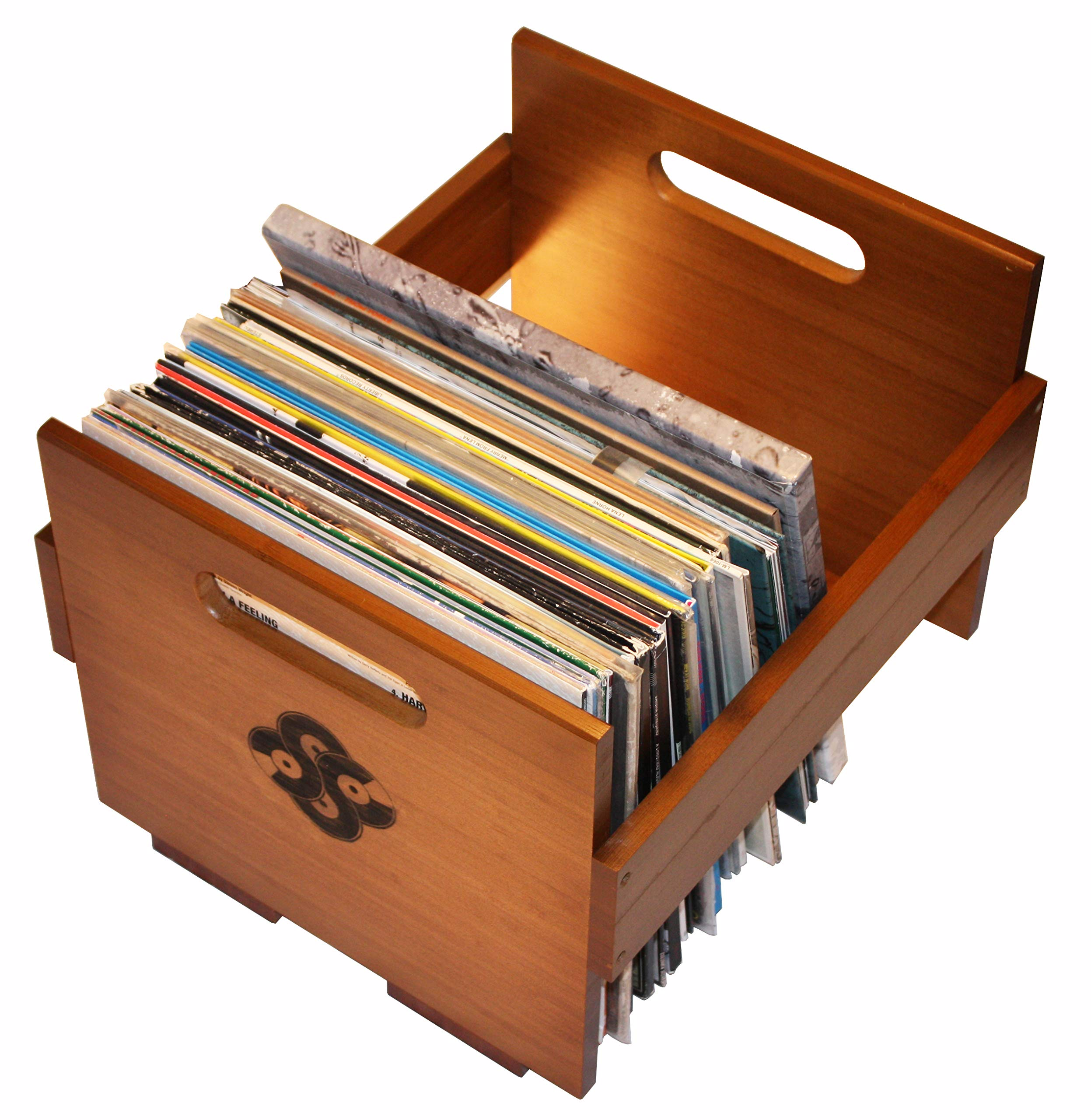 Sound Stash Vinyl Record Storage, Smooth Solid Bamboo Wood Crate, Holds Over 80 Records, Record Holder, Vinyl Organizer, Album Milk Crate, Vinyl Record Holder by Sound Stash