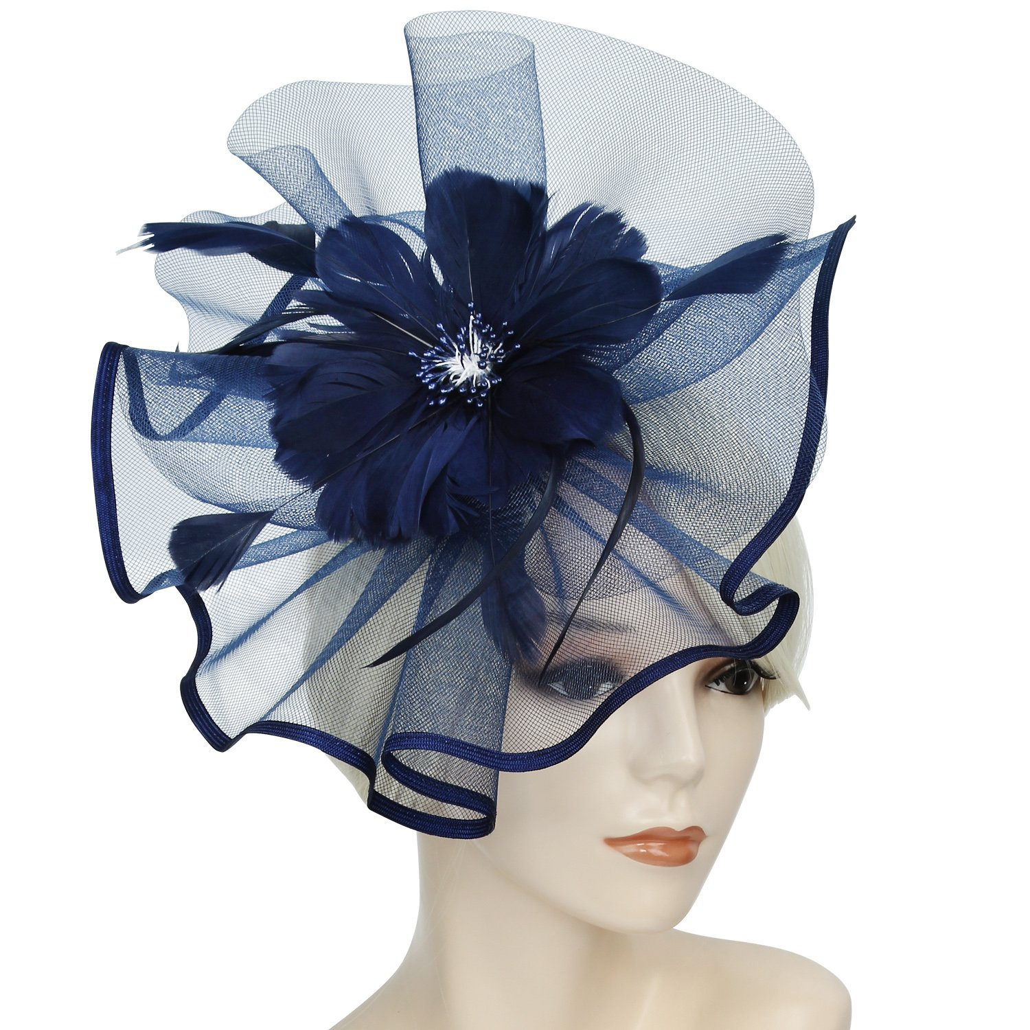 Acecharming Fascinators for Women, Feather Sinamay Fascinators with Headbands Tea Party Pillbox Hat Flower Derby Hats(Large Size Navy Blue)