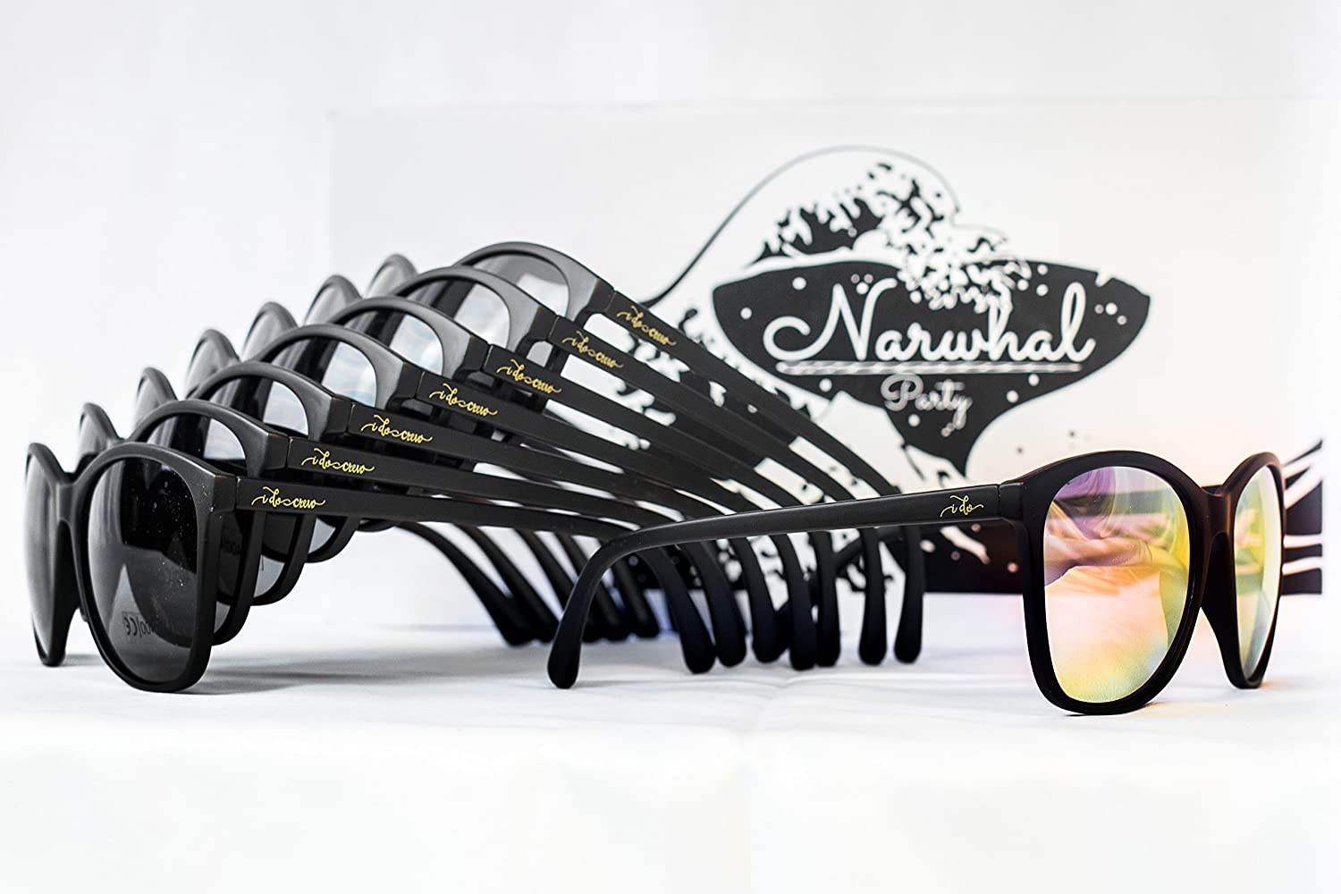 4a2421a74a6 Amazon.com   I Do Crew  Sunglasses by Narwhal Party - 8 Pairs of Matte  Black Glasses with Rose Mirrored   Grey Lenses are Perfect for Bachelorette  Parties