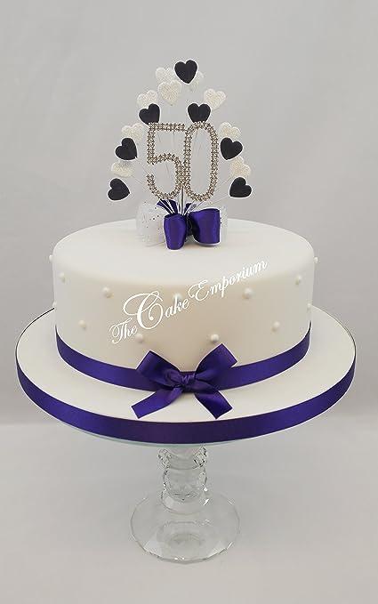 CAKE TOPPER HEART BURST SPRAY DIAMANTE 50TH BIRTHDAY PURPLE WHITE GLITTER