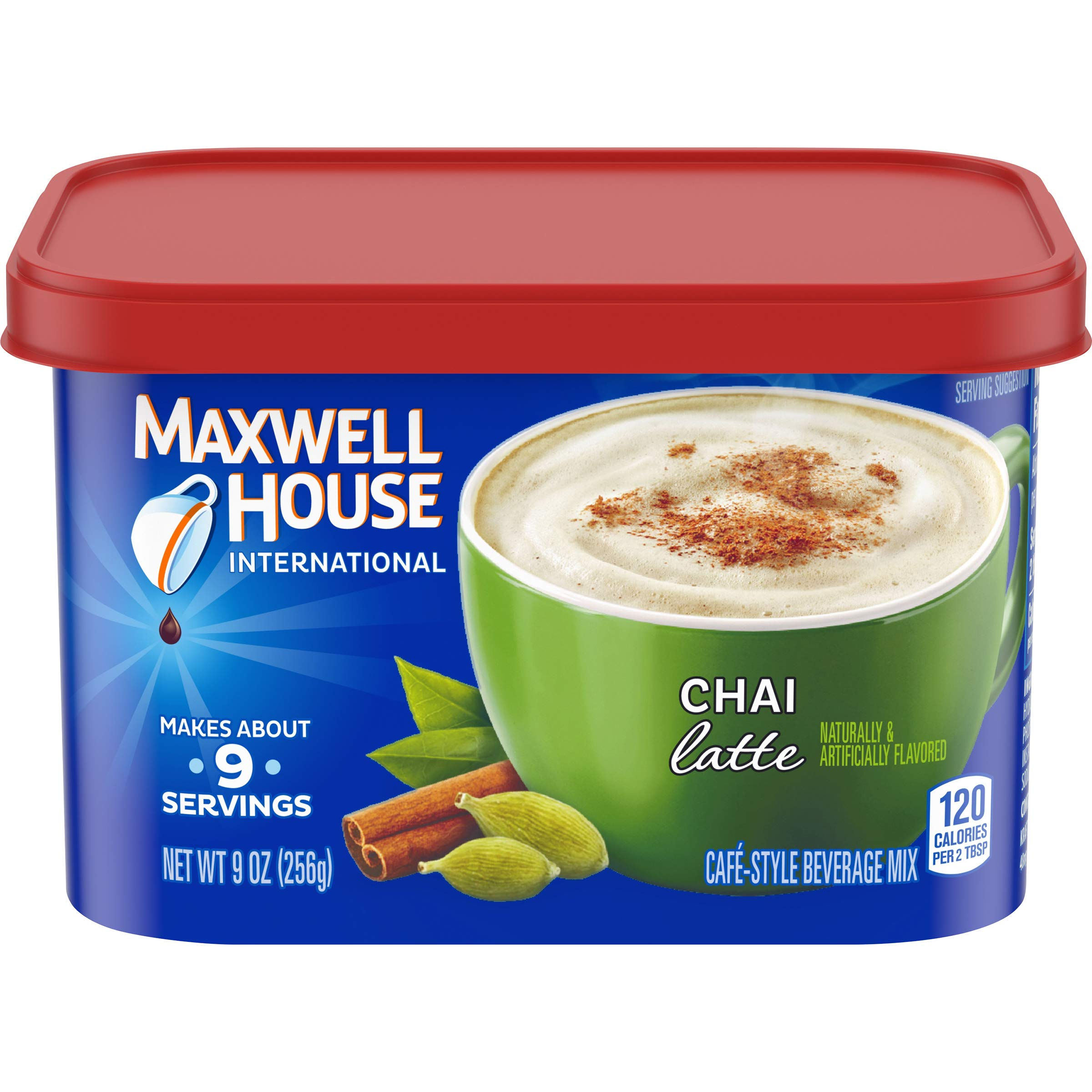 Maxwell House International Chai Latte Coffee Beverage Mix, 9 oz Canister (Pack of 4)