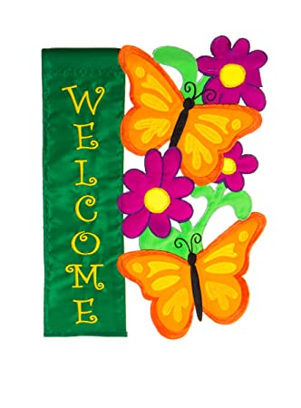 Evergreen Butterfly Welcome Double Sided Appliqué Garden Flag   12.5u201dW X  18u0026quot;