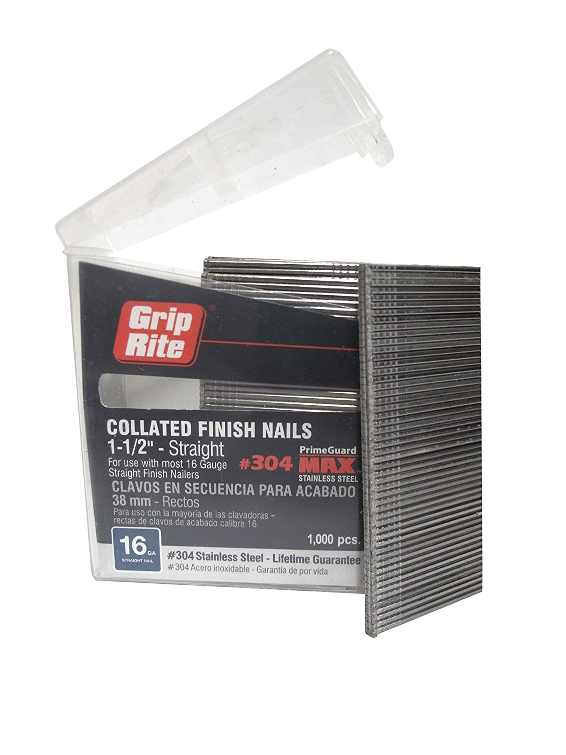 Grip Rite Prime Guard MAXB64872 16 Gauge 304 Stainless Steel Straight Finish Nails in Belt Clip Box Pack of 1000 1 1 2