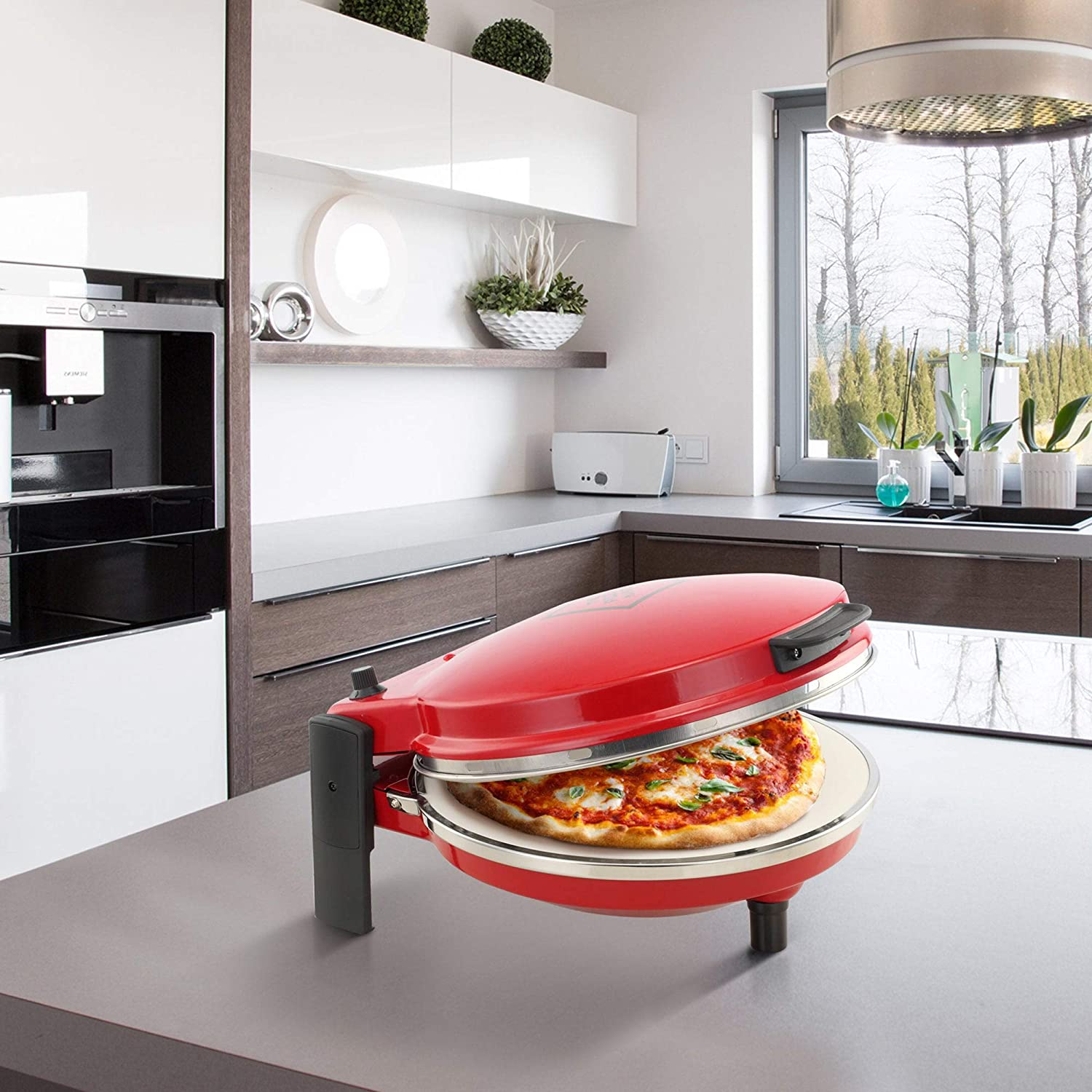 Chef Di Cucina Pizza Maker - Perfect Base with Ceramic Stone, Easy Clean with Paddle