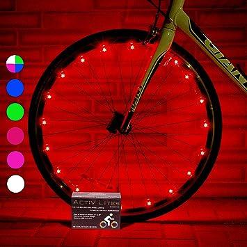 Super cool red led bike wheel lights set get bright bicycle rims spokes