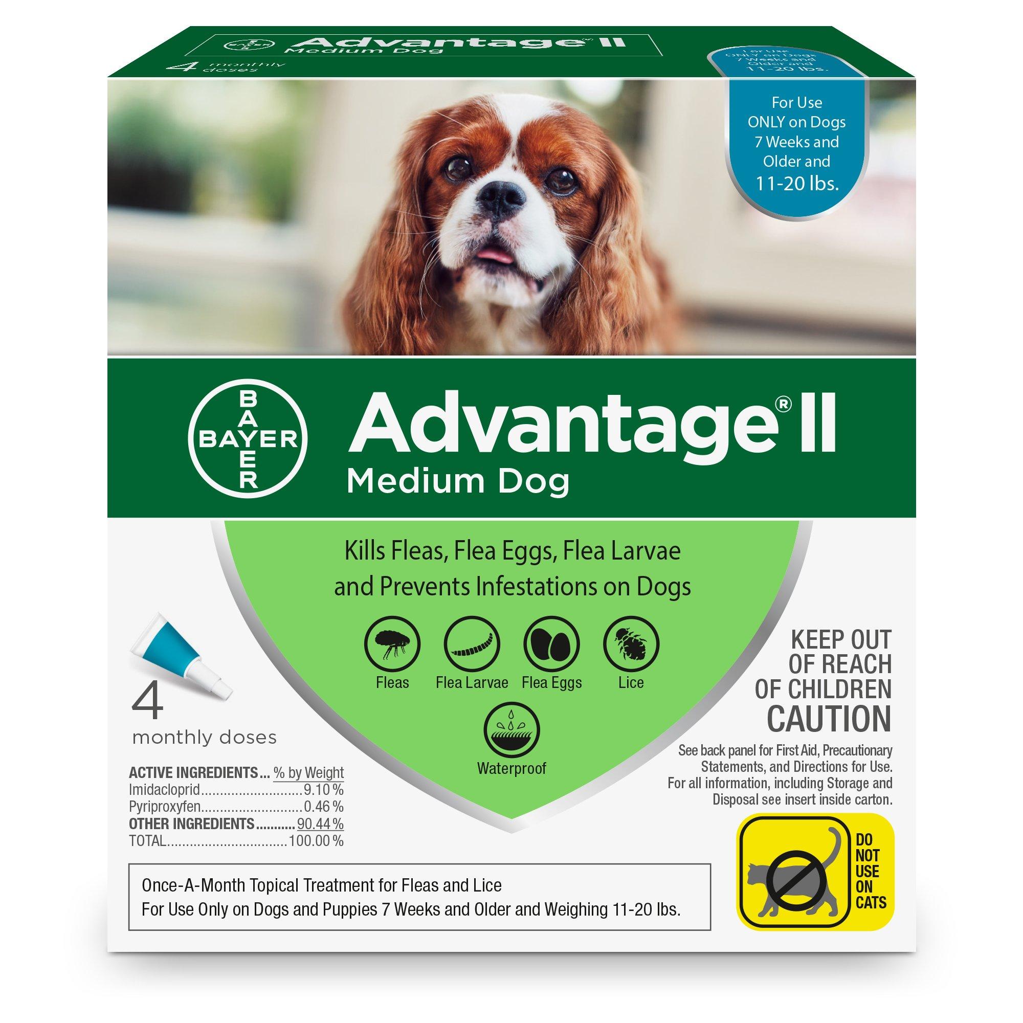 Bayer Advantage II Flea and Lice Treatment for Medium Dogs, 11-20 lb, 4 doses