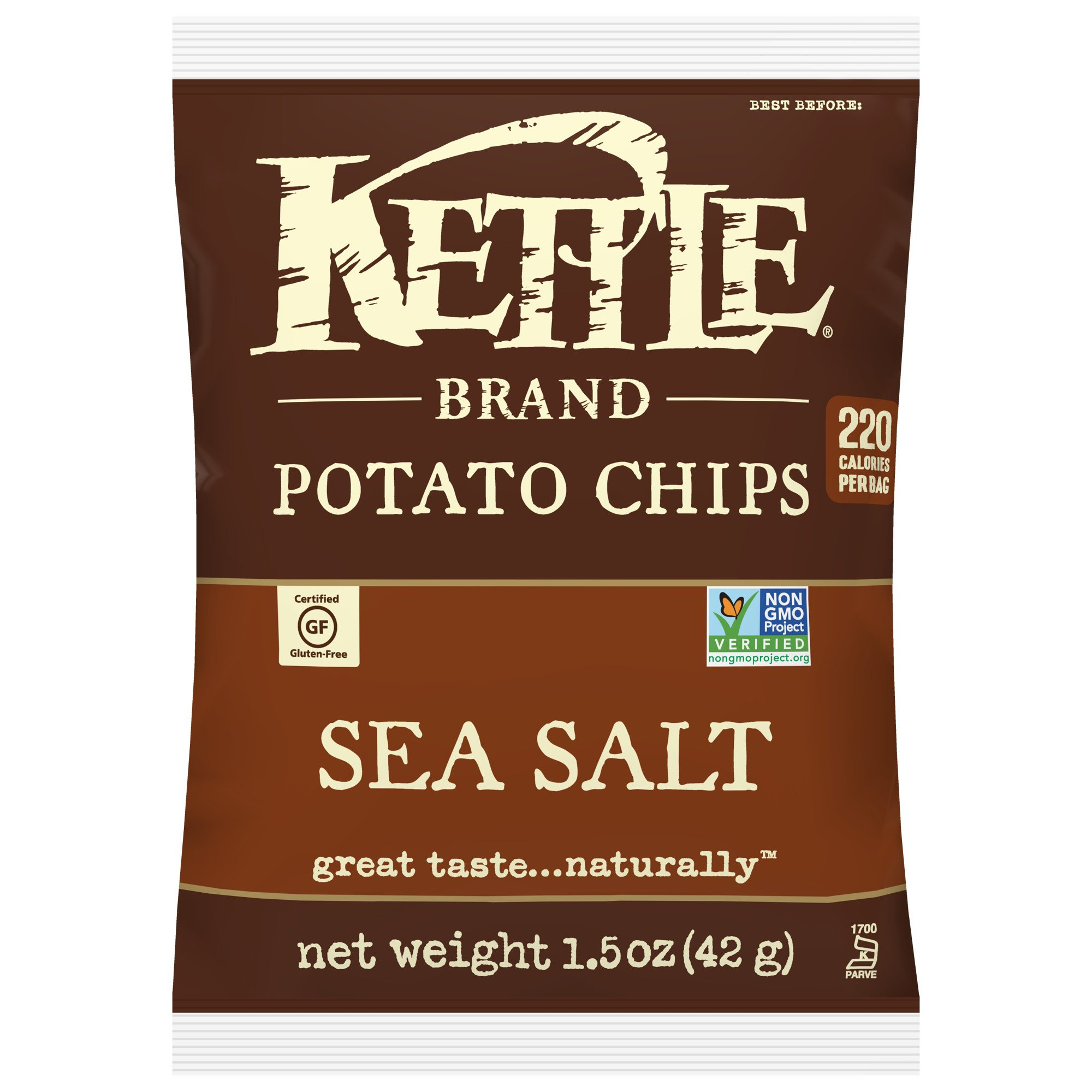 Kettle Brand Potato Chips, Sea Salt, Single-Serve 1.5 Ounce Bags (Pack of 24)