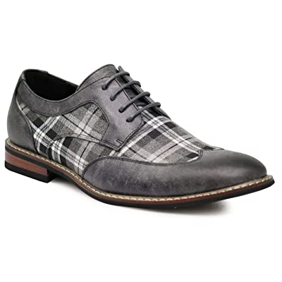 Titan03 Men's Spectator Tweed Plaid Two Tone Wingtips Oxfords Perforated Lace Up Dress Shoes | Oxfords