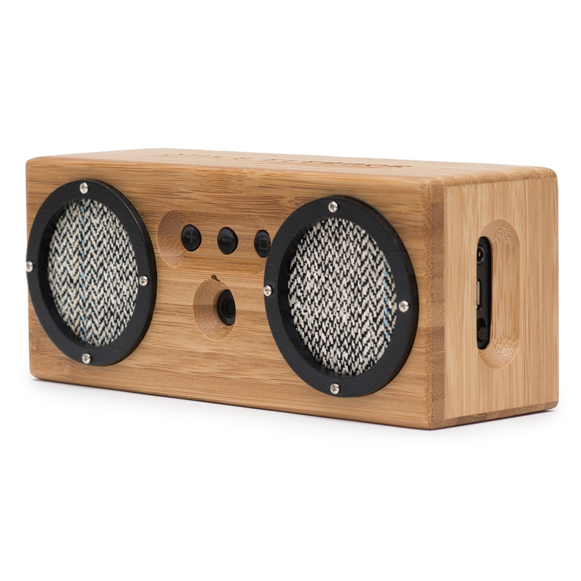 Bongo Wood Bluetooth Speakers, Retro Handcrafted Bamboo Portable Wireless Speaker for Travel, Home, Shower, Beach, Kitchen, Outdoors, Loud Bass with Dual Passive Woofers | Vintage Black & White