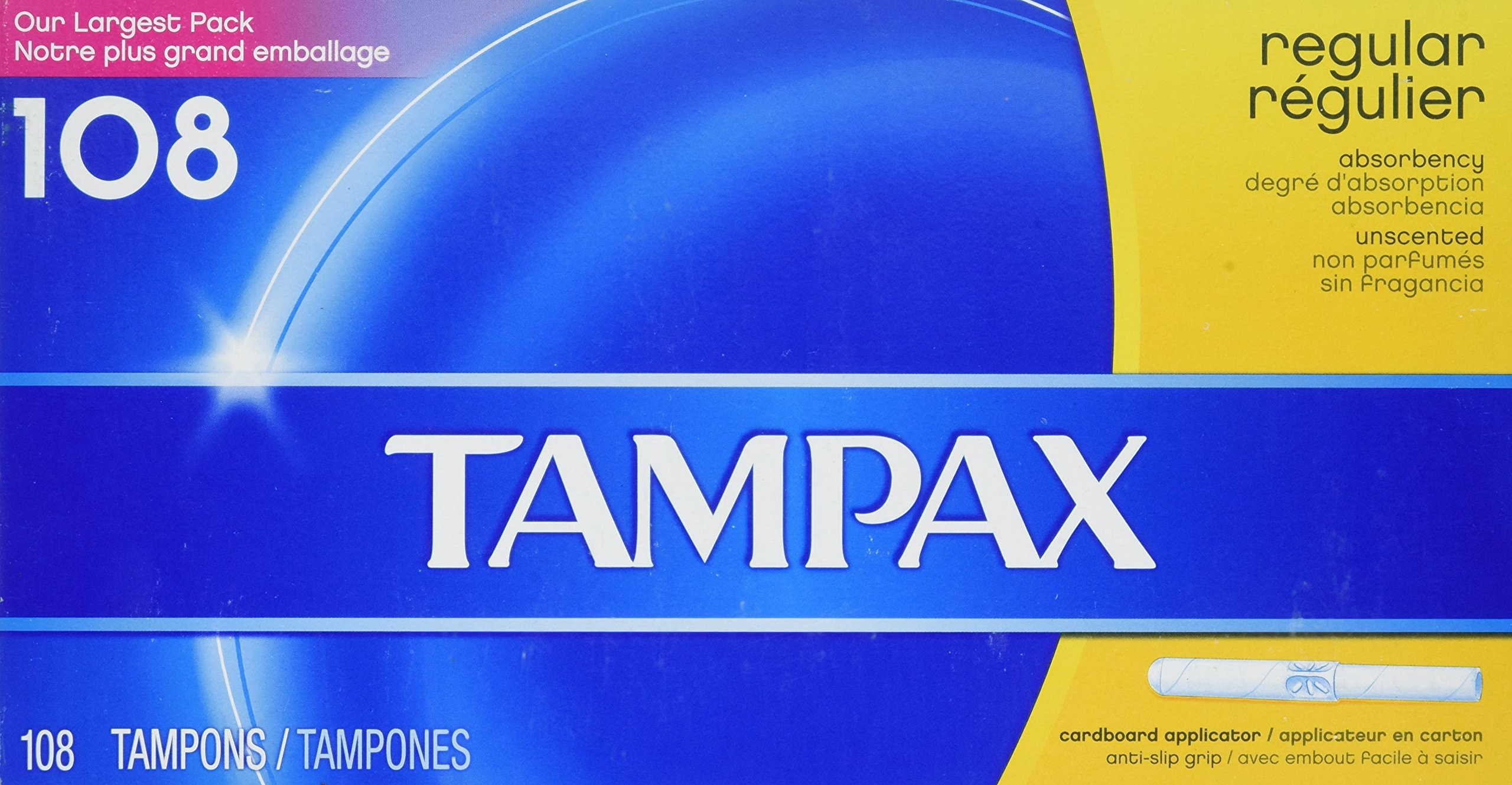 Tampax Tampons Regular Absorbency Unscented - 108 Tampons by Tampax