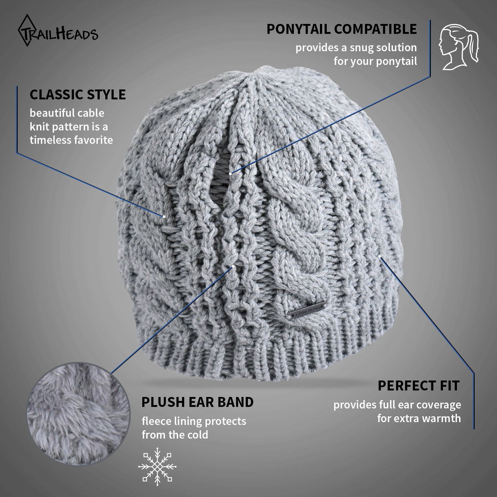 TrailHeads Women's Cable Knit Ponytail Beanie - storm grey by TrailHeads (Image #2)