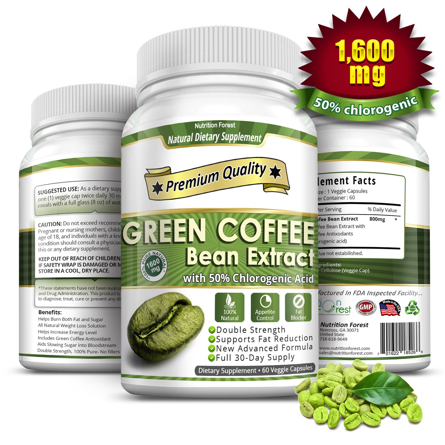 Green Coffee Bean Extract 1600mg with 50% Chlorogenic Acids * 60 Veggie / Gluten Free Capsules for Weight Loss