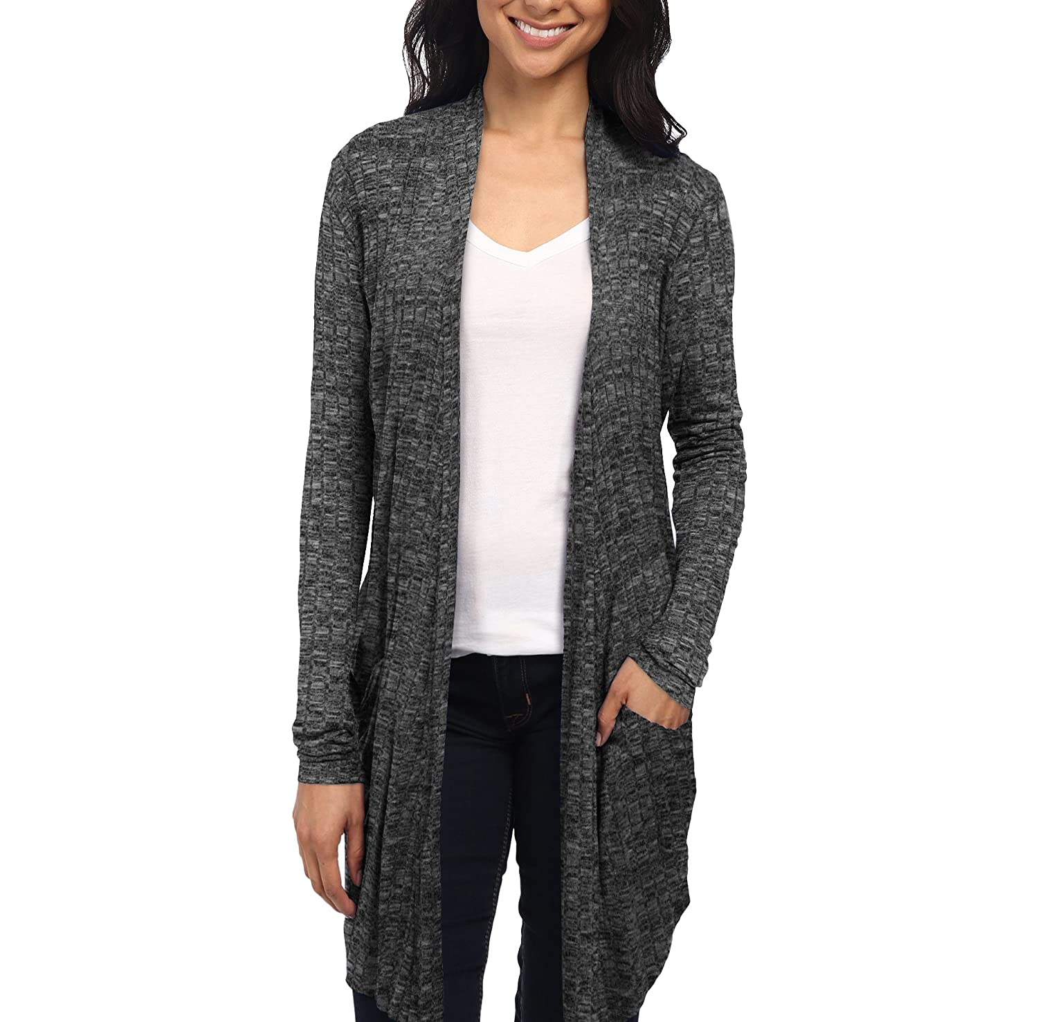 ecad24b224 Womens Lightweight Casual Open Front Drape Long Cardigan with Pockets for  all Season at Amazon Women s Clothing store