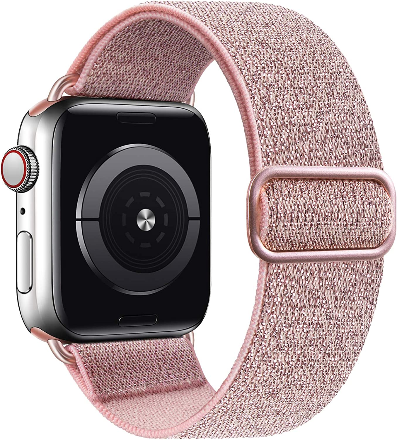MEULOT Stretchy Braided Solo Loop Band Compatible with Apple Watch Band 38mm 40mm Adjustable Nylon Elastic Sport Women Men Strap Compatible with iWatch Series 6/5/4/3/2/1 SE PinkGold 38/40S
