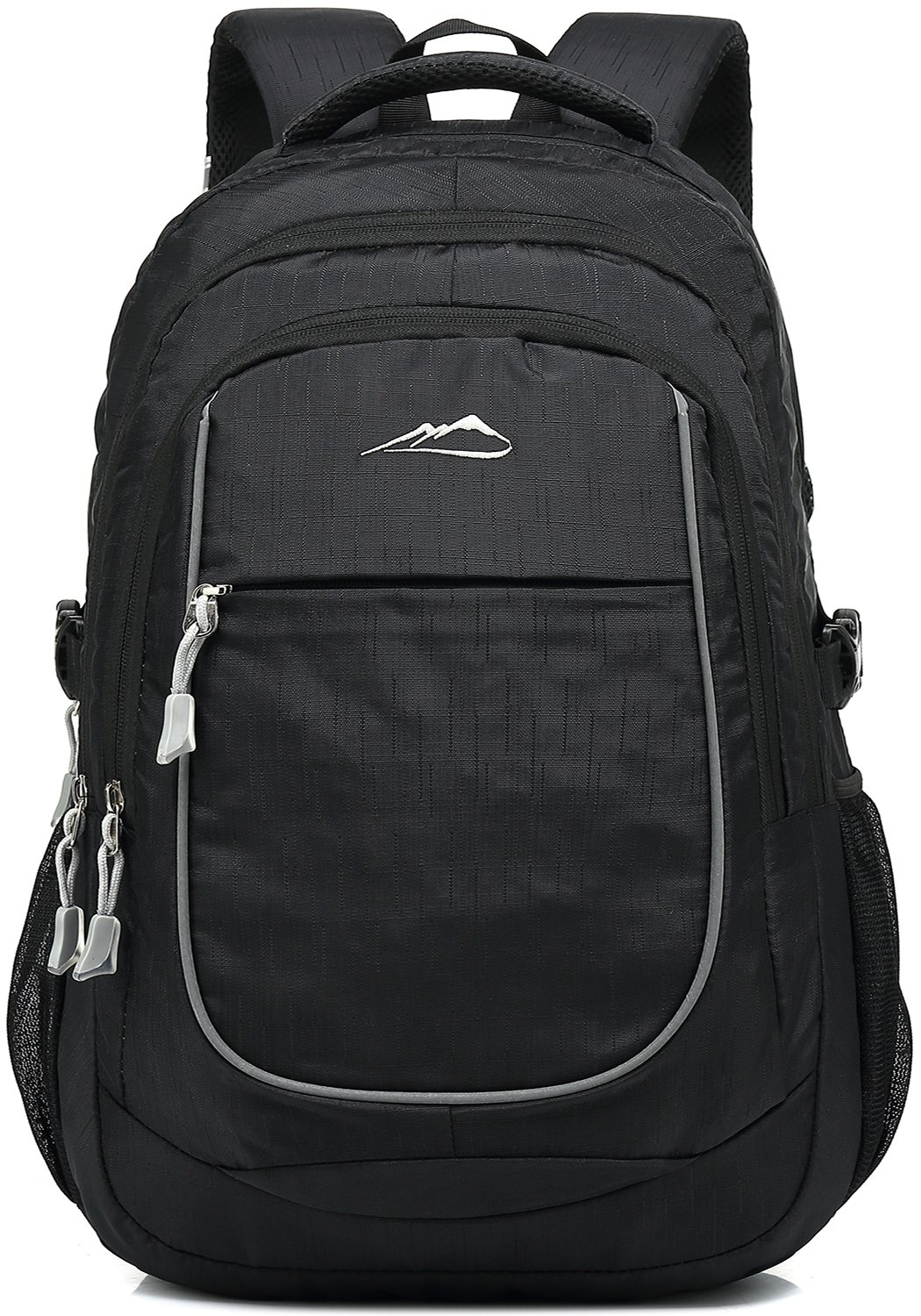 School Backpack For College Travel Hiking Fit Laptop Up to 15.6 inch Water Resistant (Black)