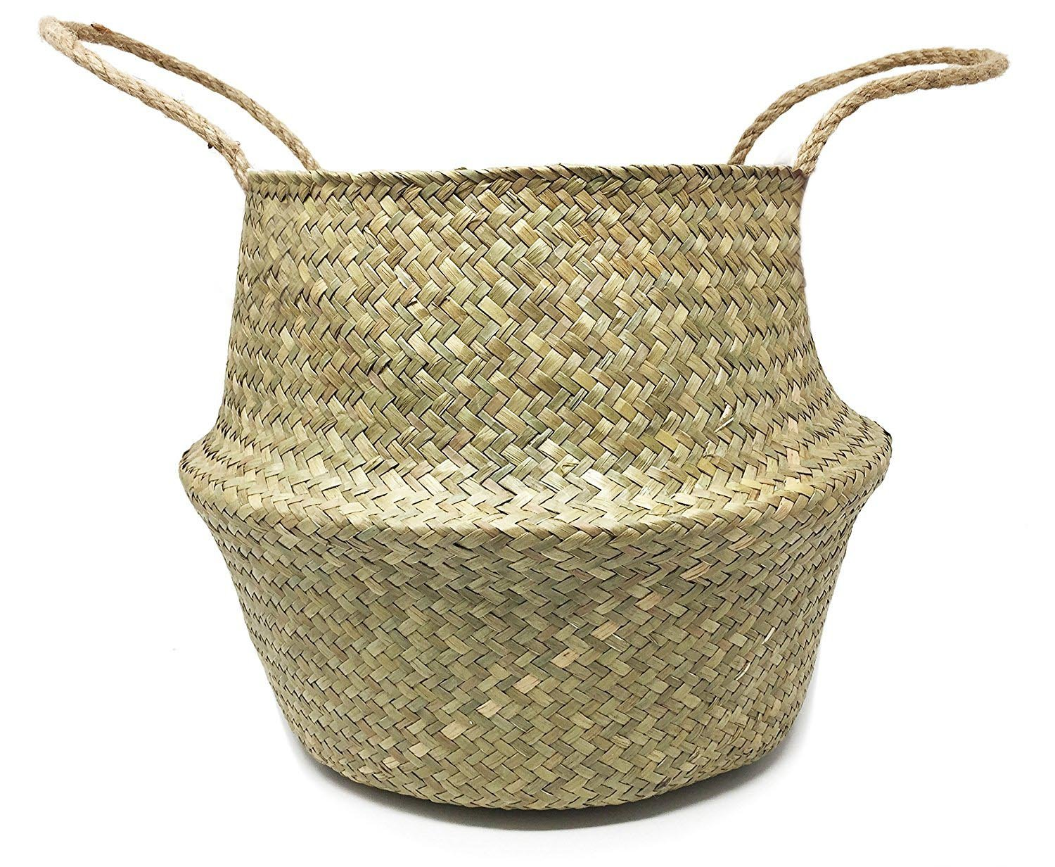 Natural Seagrass Belly Basket for Storage, Laundry, Plant Pot Holder Cover Planter, Medium - UNIQUE:Sea grass has natural color variations which makes every basket unique.Dimension: The top open diameter is 9.5 inch, the widest diameter is 12.6 inch, the height is 11 inch DELICATE WEAVING: The weaving is delicate and well made, and it will stand up straight and hold its shape.Each basket is woven by hand and is therefore unique again FLEXIBLE FIT: it's pliable constructed, so you can fit it into small awkward spaces.Storing your belongings in baskets makes it easier to be organized and find what you're looking for. - living-room-decor, living-room, baskets-storage - 81Ur%2Bo9JjtL -