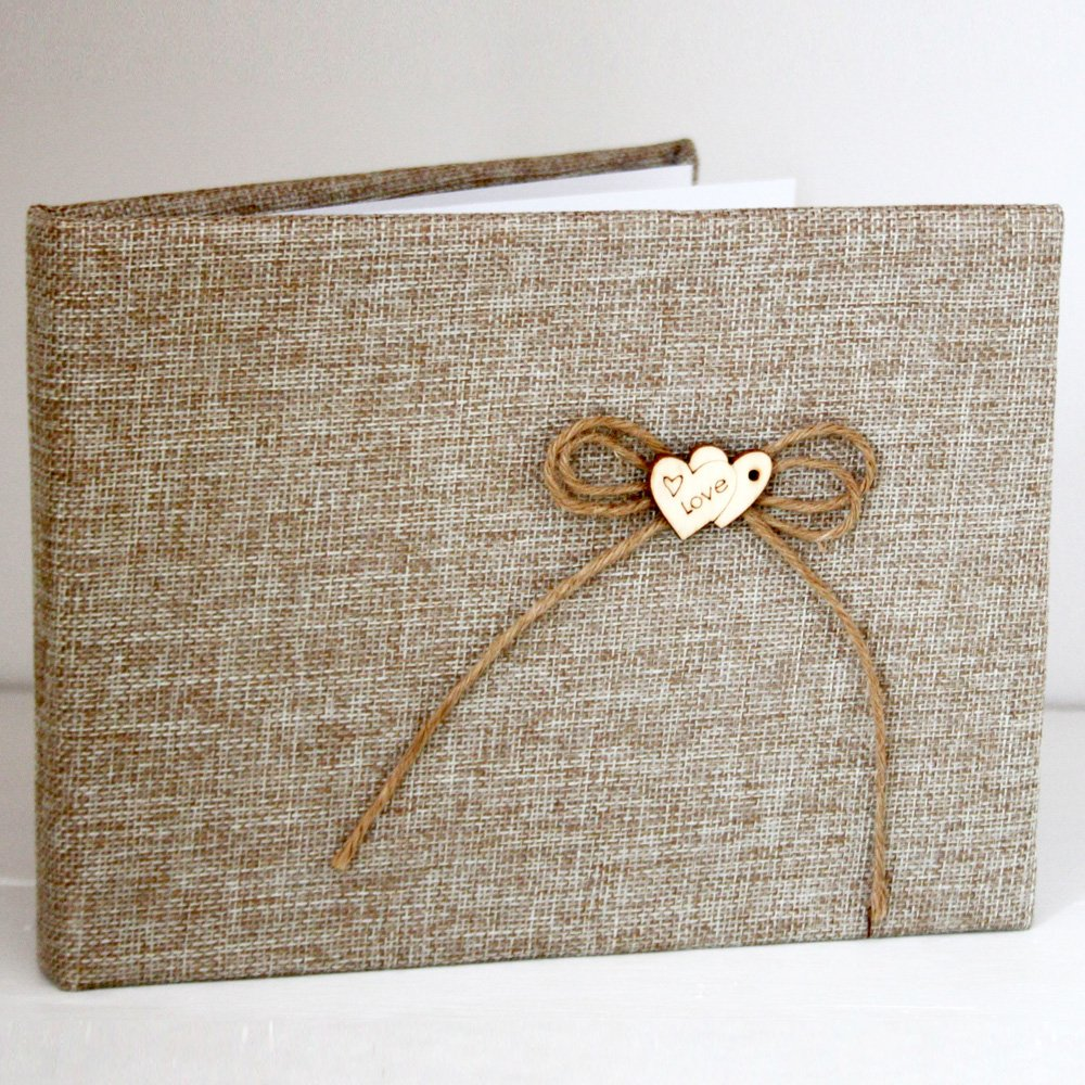 Club Green Hessian Guest Book with Love, Hessian, 220 x 170 H041